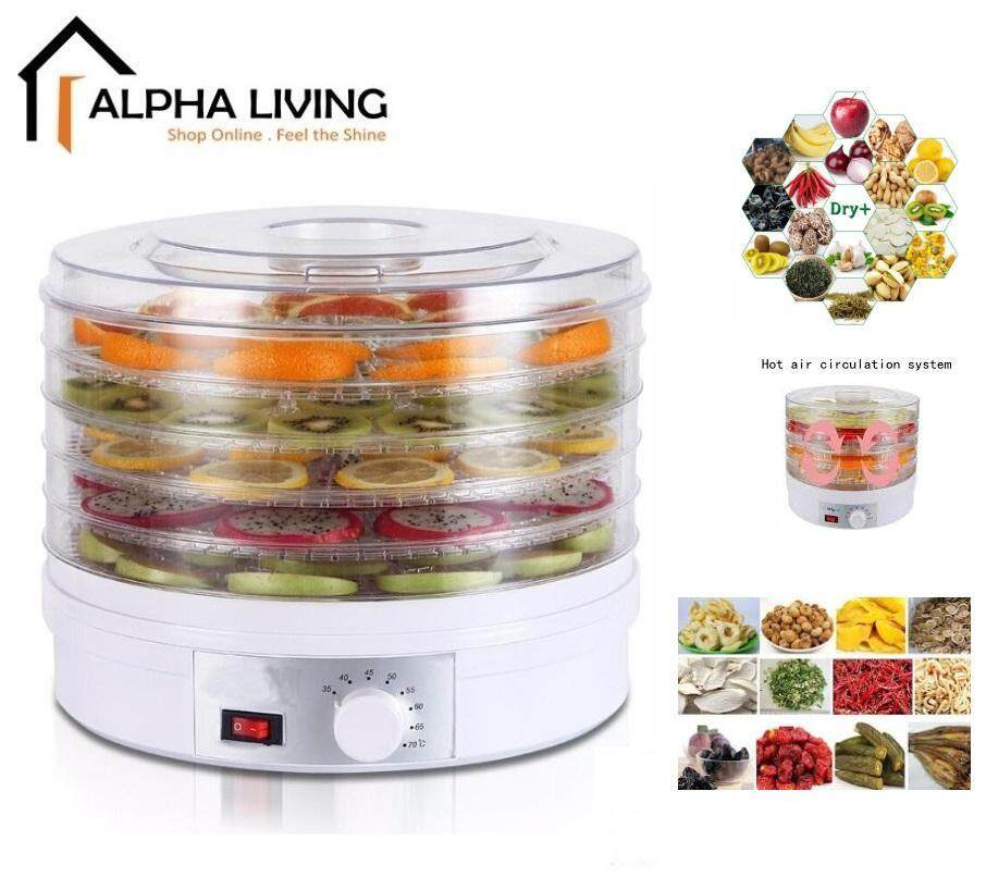 Alpha Living KEA0290 Healthy Food Dehydrator with Five Adjustable Drying Racks and Temperature Tuner 350W