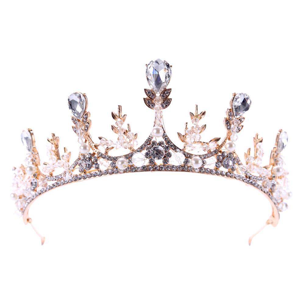 Crystal Crown Tiara Pengantin Perempuan Pernikahan Hiasan Rambut Besar Hoop Aksesoris Rambut