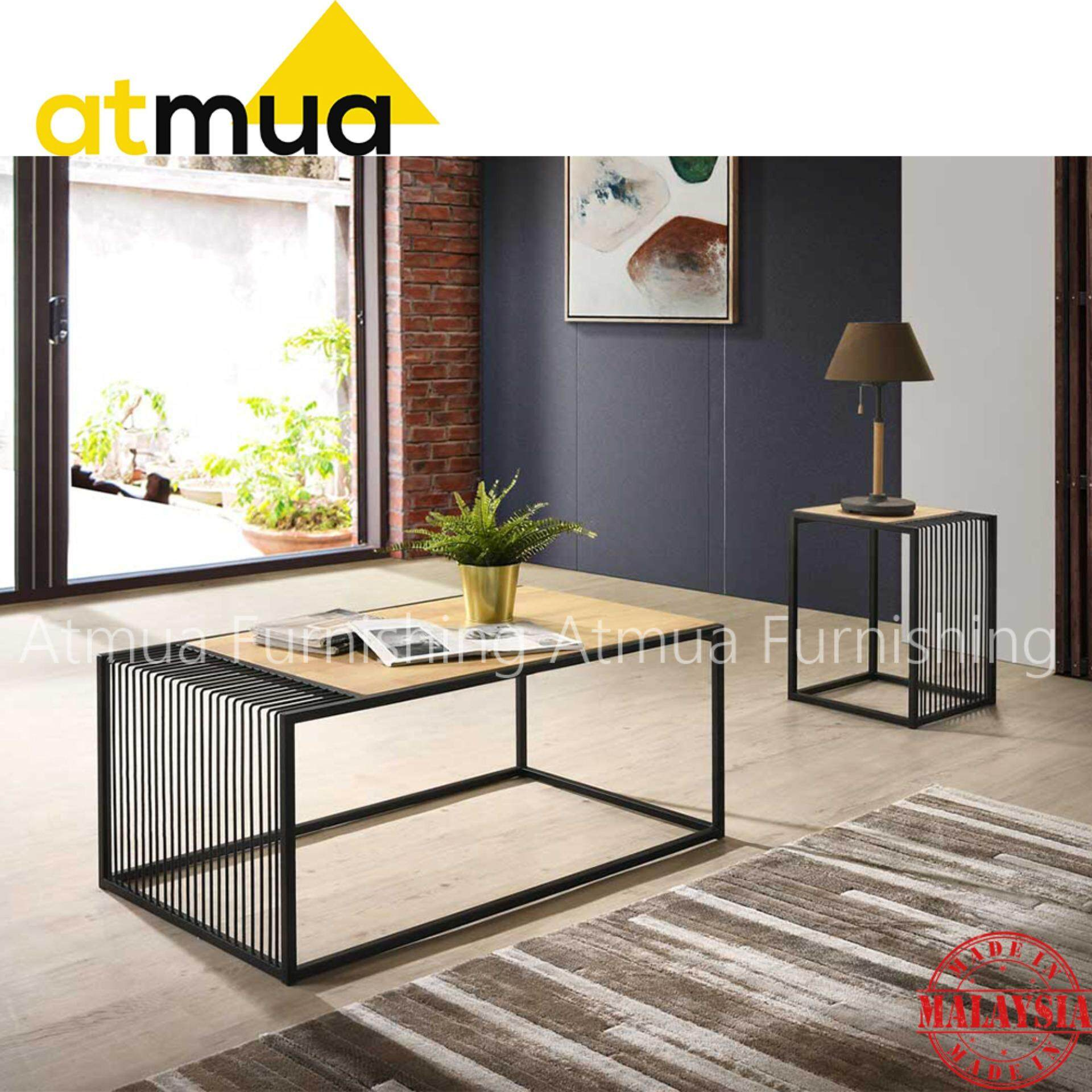 Atmua Wander Living Room Set 2in1 (Coffee Table + End Table) [Rubber Wood Top with Metal Leg]