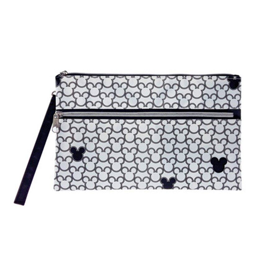 Disney Mickey Adult Double Zip Pouch - White Colour