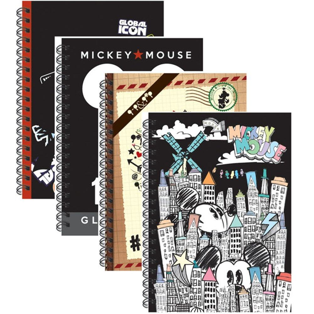 Disney Mickey Retro A5 150\'s Spot UV Notebook - Black Colour