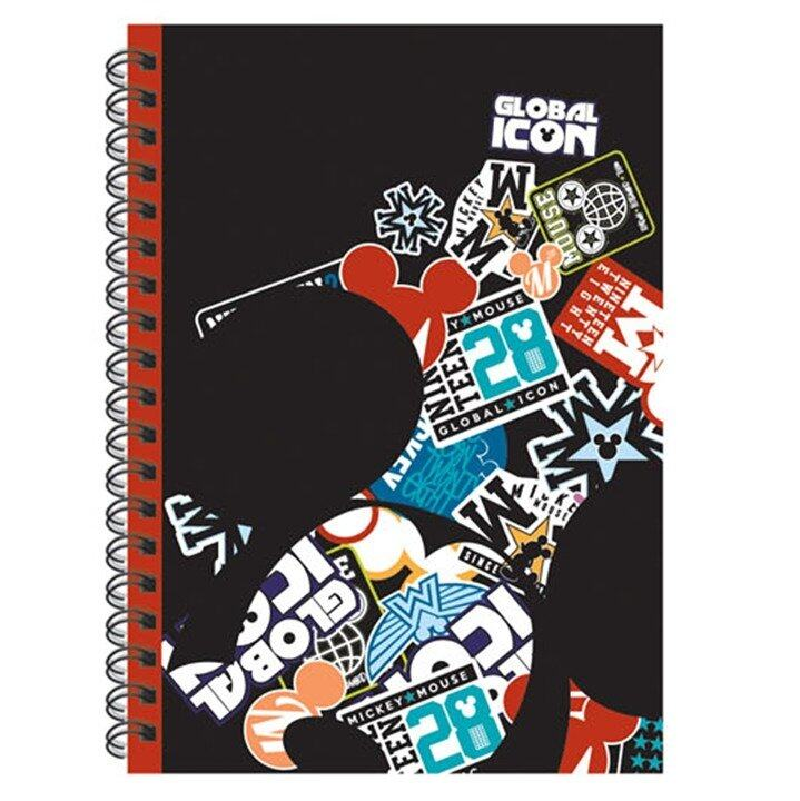 Disney Mickey Retro A5 150's Spot UV Notebook - Black Colour