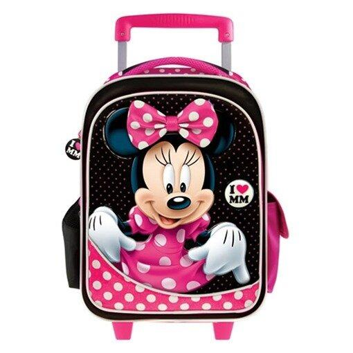 Disney Minnie School Trolley Bag - Pink And Black Colour