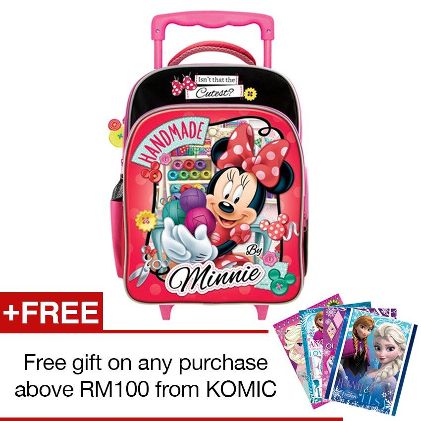 Disney Minnie School Trolley Bag - Red And Black Colour