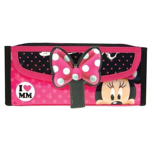 Disney Minnie Square Pencil Bag With Pocket - Pink And Black Colour
