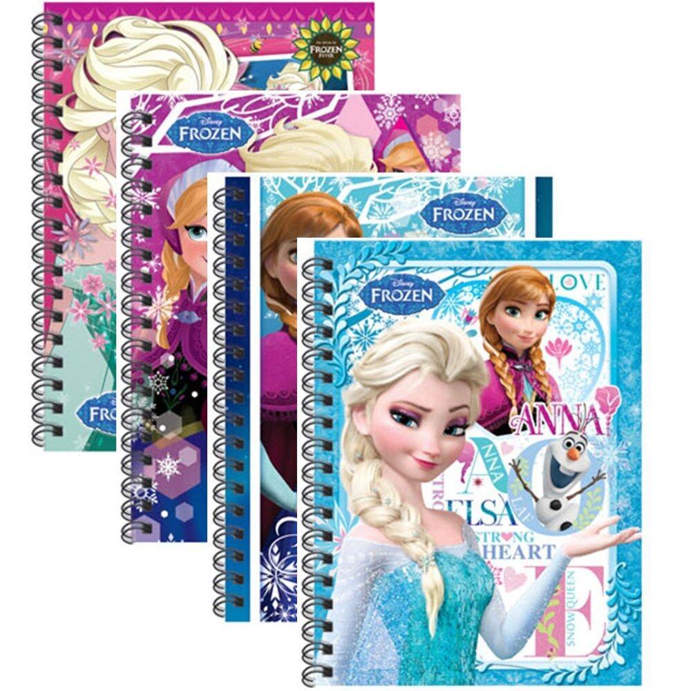 Disney Princess Frozen A6 50's Hard Cover Notebook - Blue And Purple Colour