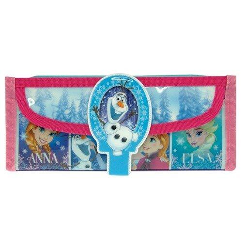 Disney Princess Frozen Square Pencil Bag With Pocket - Red And Blue Colour
