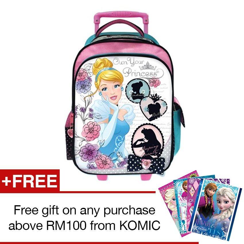 Disney Princess School Trolley Bag - Blue And Pink Colour