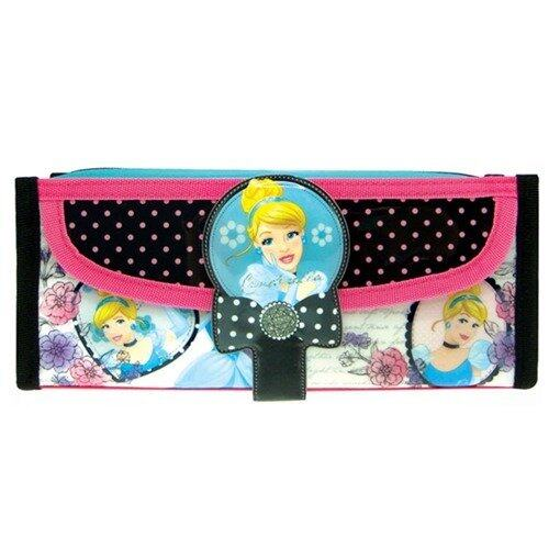 Disney Princess Square Pencil Bag With Pocket - Pink And Black Colour