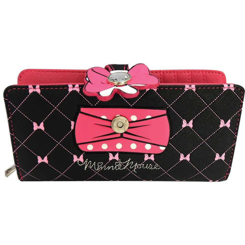 Disney Retro Minnie - ARW 1502 Minnie Long Purse (Black/Pink)