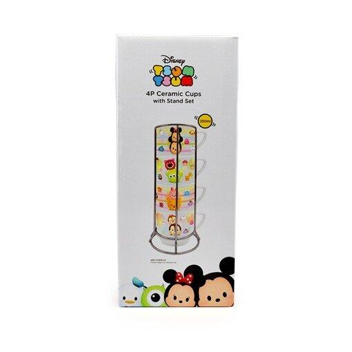 Disney Tsum Tsum Ceramic 4pcs 250ML Cup Set With Stand - White Colour