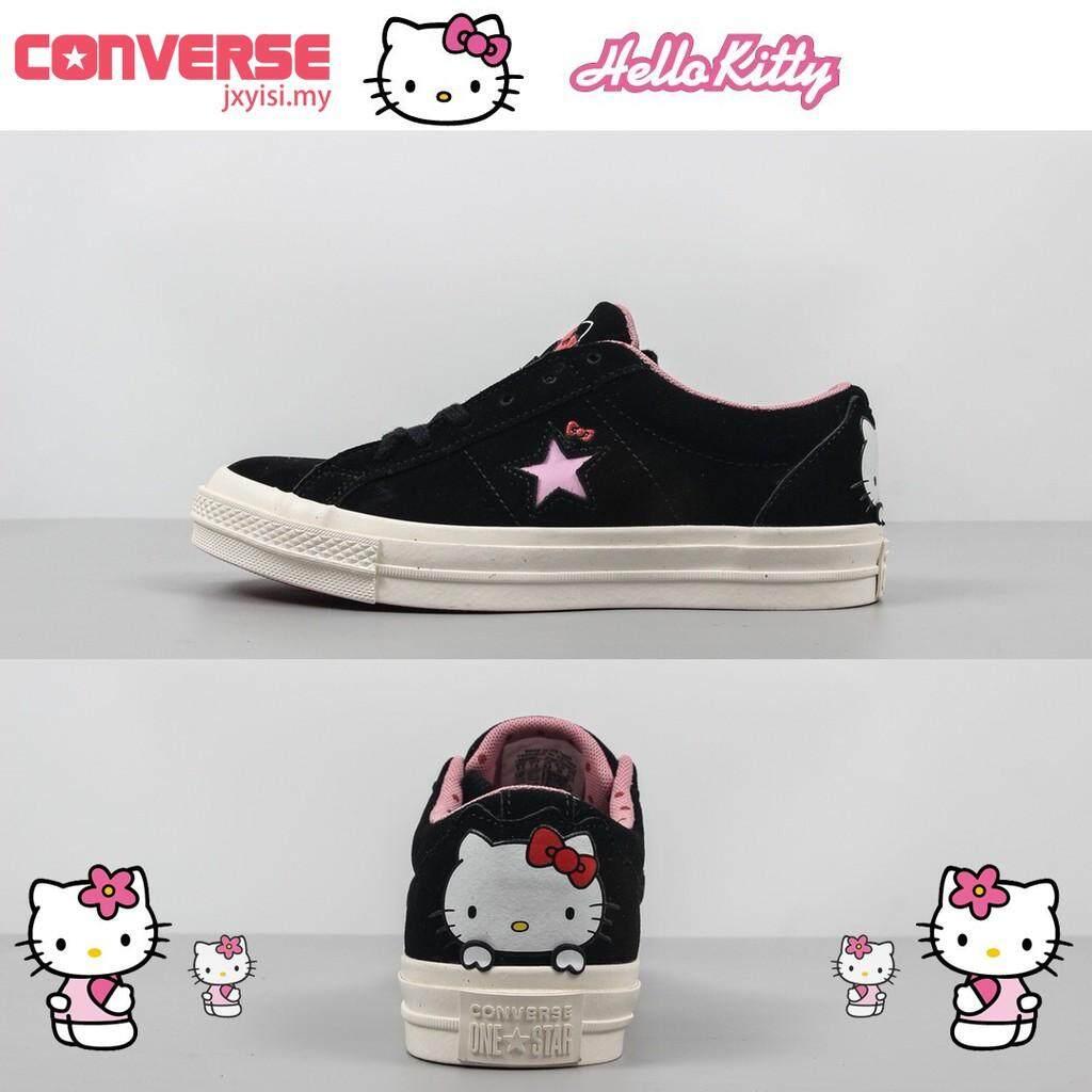 พิษณุโลก ใหม่ Converse One Star รองเท้าผ้าใบน่ารักสตรีสีดำ Hello Kitty รองเท้าหนังกลับ
