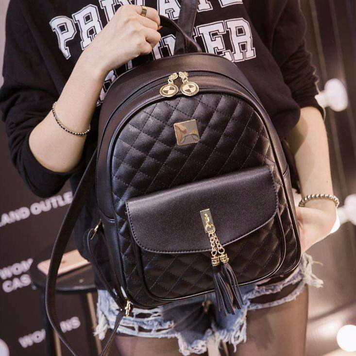 Casual  Simple Backpack PU leather Korean Fashion Backpack