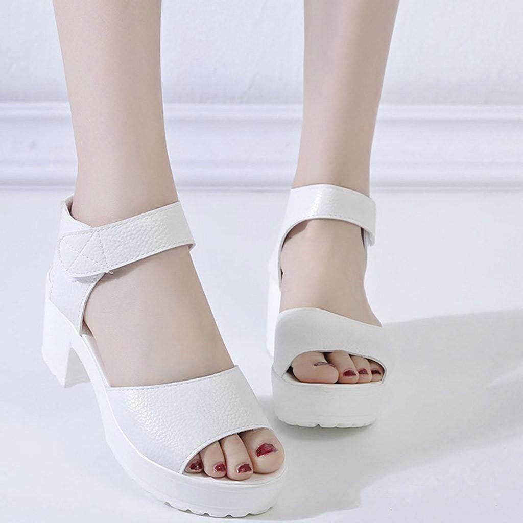 KincaidstoreWomen của Mùa Hè Ngoài Trời Màu Cá Miệng Hở Ngón Breatha Giày Sandal Cao Gót