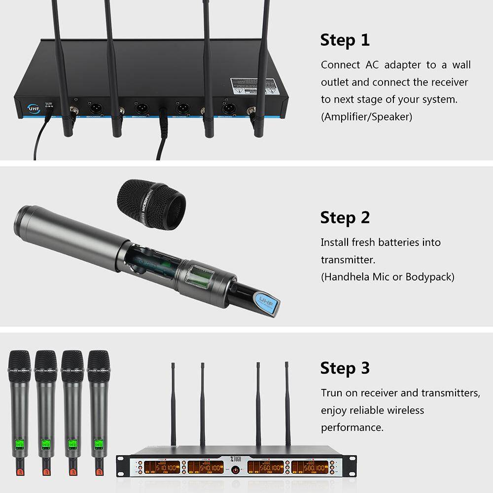 xtuga skm4000 plus uhf 4 handheld wireless microphones system with carry case ebay. Black Bedroom Furniture Sets. Home Design Ideas