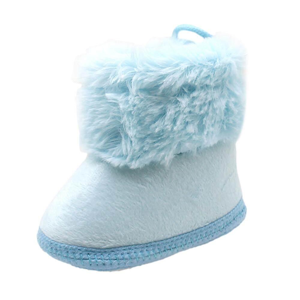 ★BALALA เด็กวัยหัดเดินทารกแรกเกิด Soild ขนสัตว์พื้นรองเท้าบู้ทนุ่มหิมะ Prewalker รองเท้า