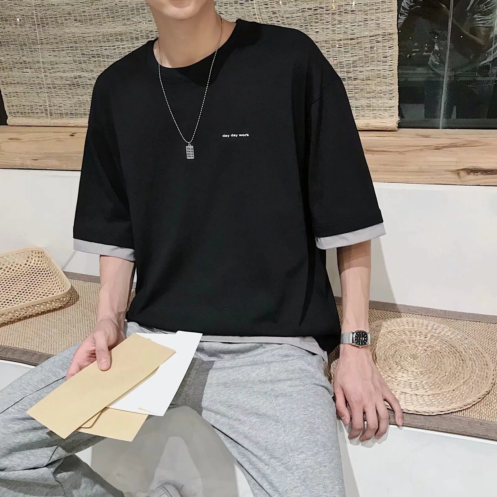 SK Men Loose Korean T-shirt Fashion Casual Oversized Short Sleeve Wild  Print Tops Summer chic Student Couple Clothes