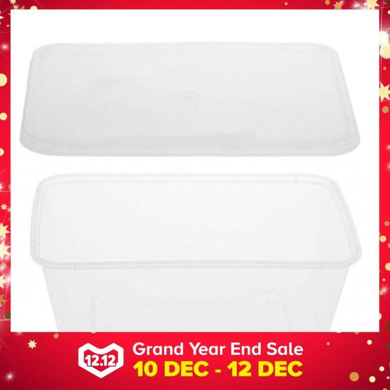 1000ml PP Microwavable Rectangular Container With Lids Clear 10pcs
