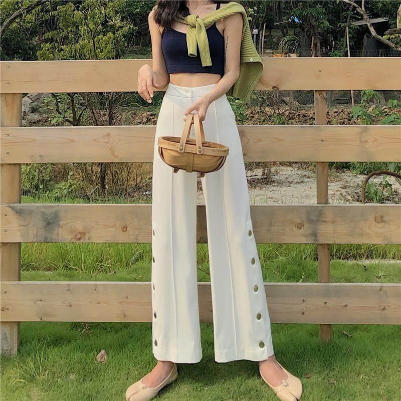(PRE ORDER) WOMEN HIGH WAIST SLIM STRAIGHT SPLIT WIDE LEG PANTS