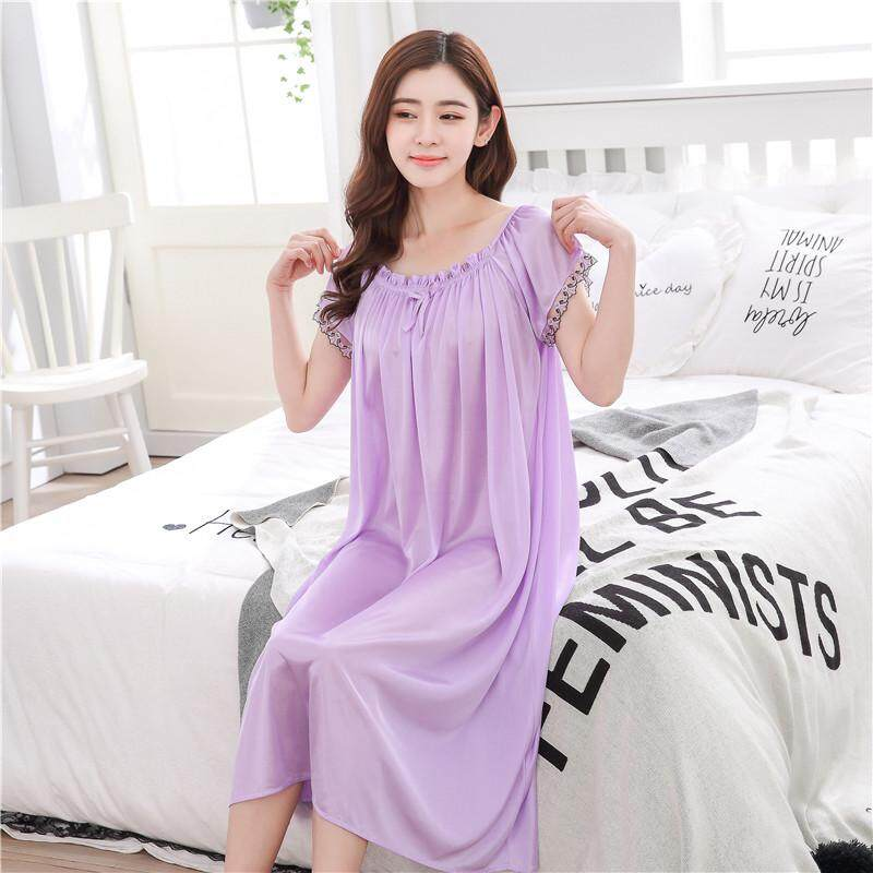 【LIMITED & READY 4 YOU】Cheerful Women Sexy Short Sleeve Long Dress Pyjamas With Premium Grade Quality Silk (Blue/Black/Neutral Red/Pink/Lavender Purple - Free Size)