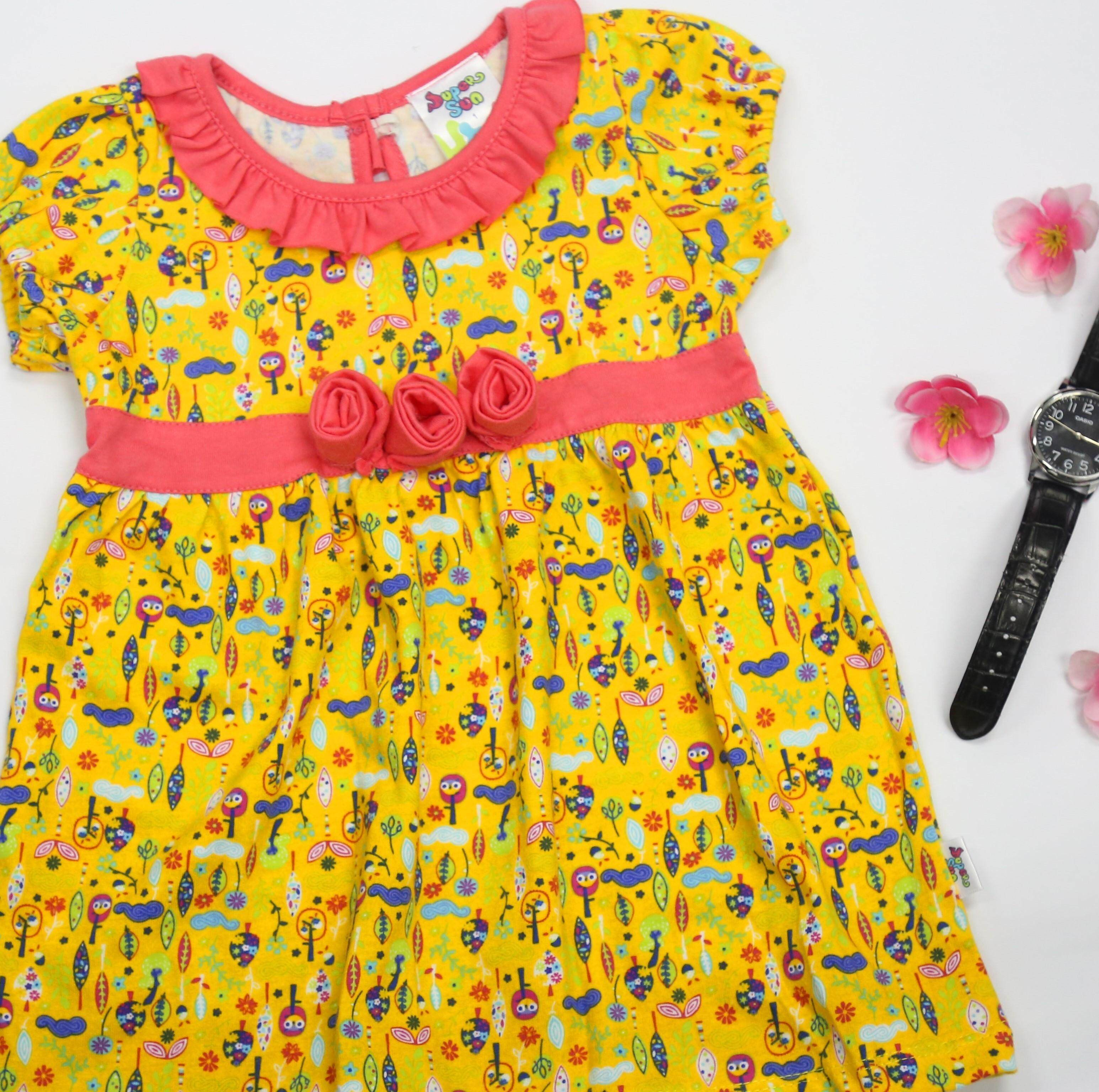 Supersun Toddler Girl Dress Summer Fashion Clothes GD-31 yellow.
