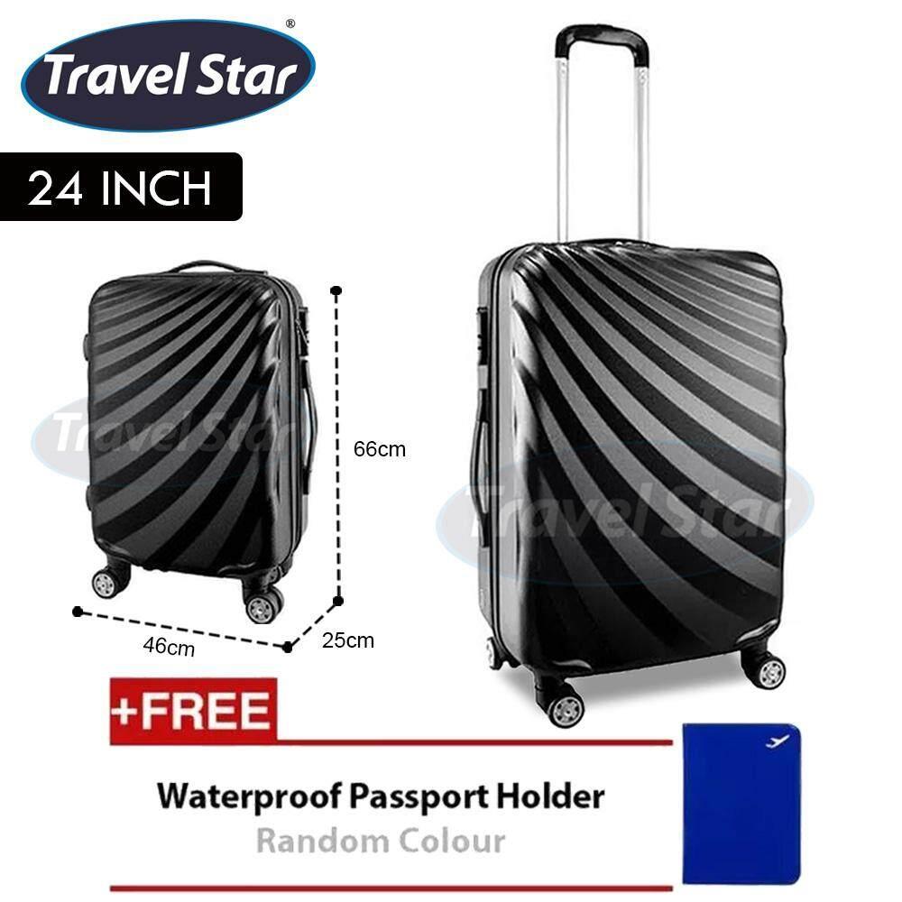 Travel Star A-03 Streamer Diagonal Stripe Luggage Bagasi (Black) Free Passport Holder