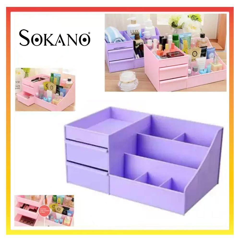 SOKANO 1341 Large Capacity Cosmetic and Table Top Organizer With Drawers- Purple