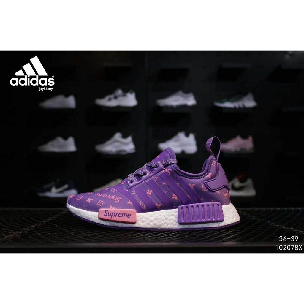 สอนใช้งาน  ยะลา Adidas NMD R1 นักเรียนรองเท้าวิ่งรองเท้าผู้หญิงกีฬารองเท้า Wanita Kasut