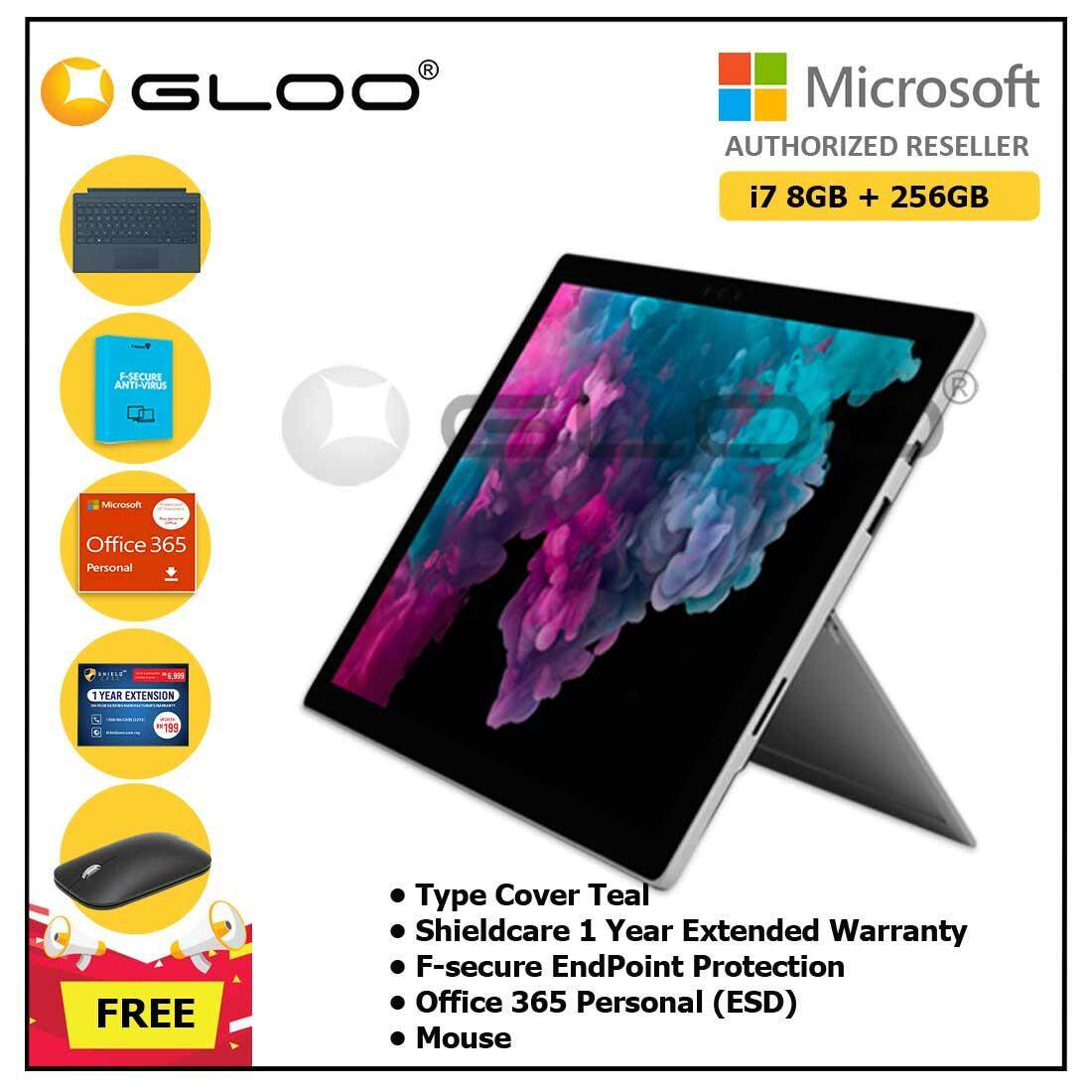 Microsoft Surface Pro 6 Core i7/8GB RAM - 256GB + Type Cover Cobalt Blue + Office 365 Personal (ESD) + Shield Care 1 Year Extended Warranty + F-Secure End Point Protection + Mouse