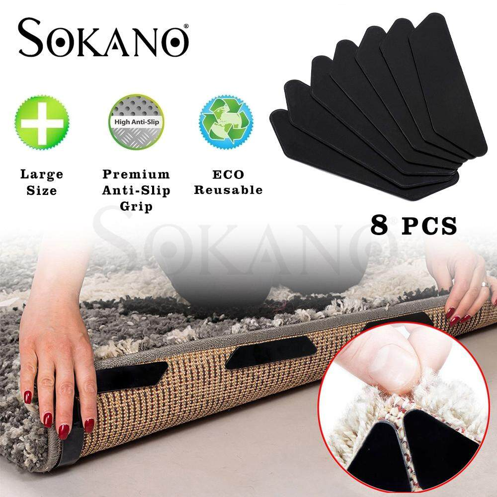 SOKANO Anti Slip Rug Grips Reusable Removable Washable Rug Gripper Non Slip Rug Pad Anti Curling For Carpet Floor Mat (Set of 8 Pcs)