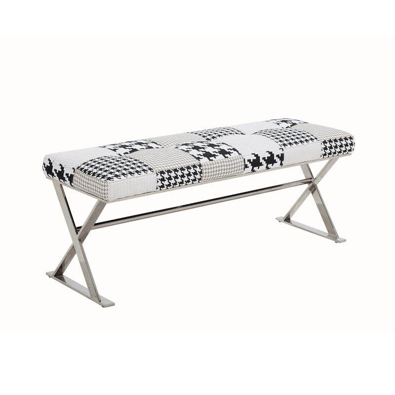 Designer Series 0111D Patchwork Fabric Bench with Stainless Steel Frame (Design D)