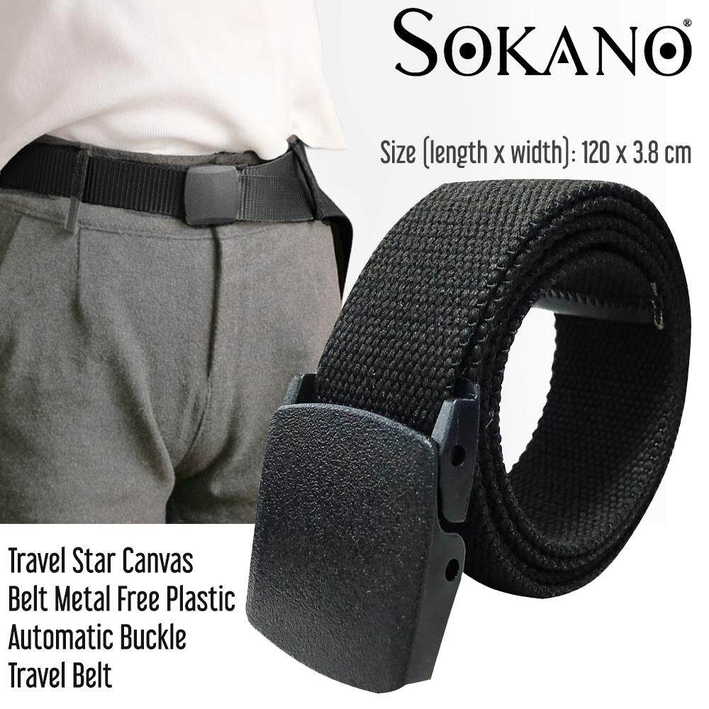 Travel Star Men Canvas Belt Metal Free Plastic Automatic Buckle Travel Belt Tali Pinggang