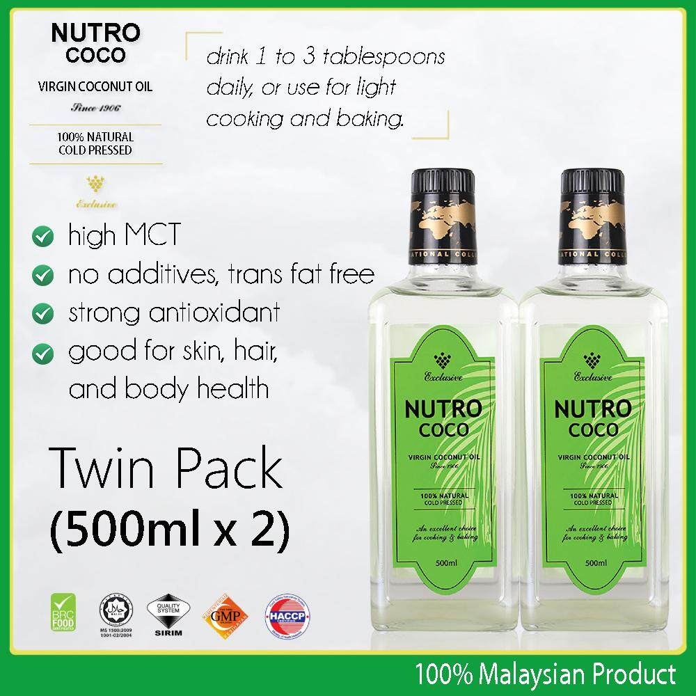 Nutrococo Virgin Coconut Oil 500ml Twinpack cold pressed 100% natural exclusive made in Malaysia