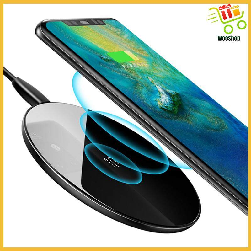 Baseus 10W 7.5W QC3.0 Glass Mirror WIRELESS Charger charging pad - BLACK