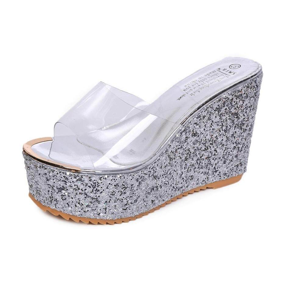 MYKUTSU Glitter Transparent Wedges