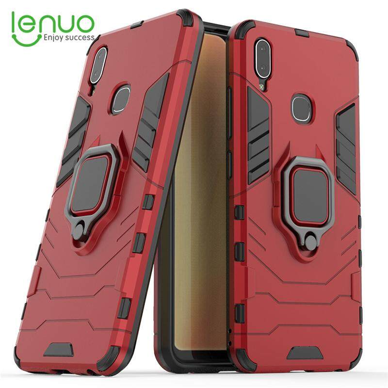 เก็บเงินปลายทางได้ Lenuo โทรศัพท์พีซีเคสสำหรับ VIVO Y91 และ VIVO Y95/U1 นิ้วมือแหวนพลาสติกเคสโทรศัพท์ป้องกันฝาหลังเคสแข็ง