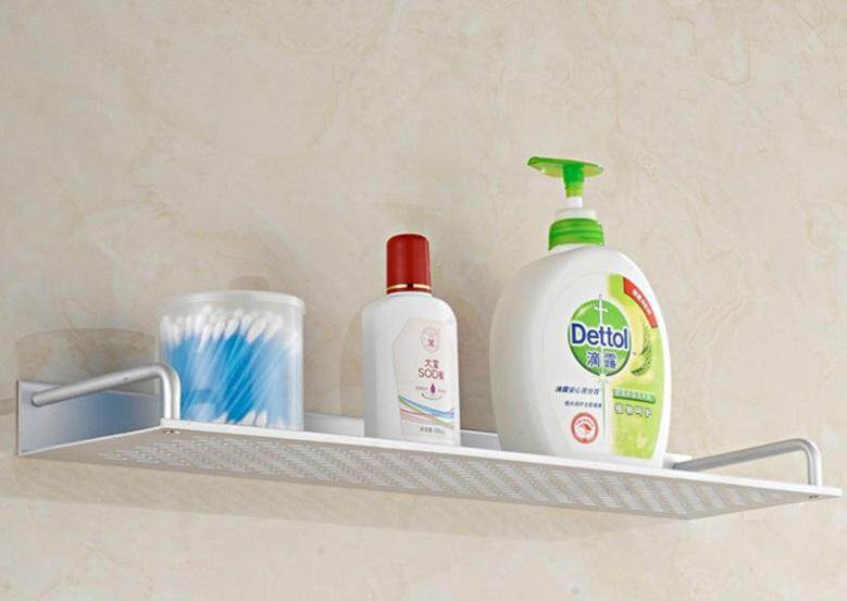 ALUMINIUM SINGLE SHELF WALL MOUNTED 1 TIER MODERN BATHROOM FLOATING SHELF SILVER RACK 50CM