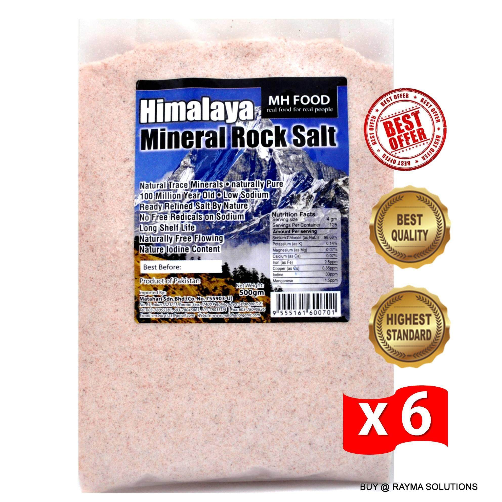 BEST DEAL MH FOOD Premium Himalaya Mineral Rock Salt, Fine, 500g (6 Packs)