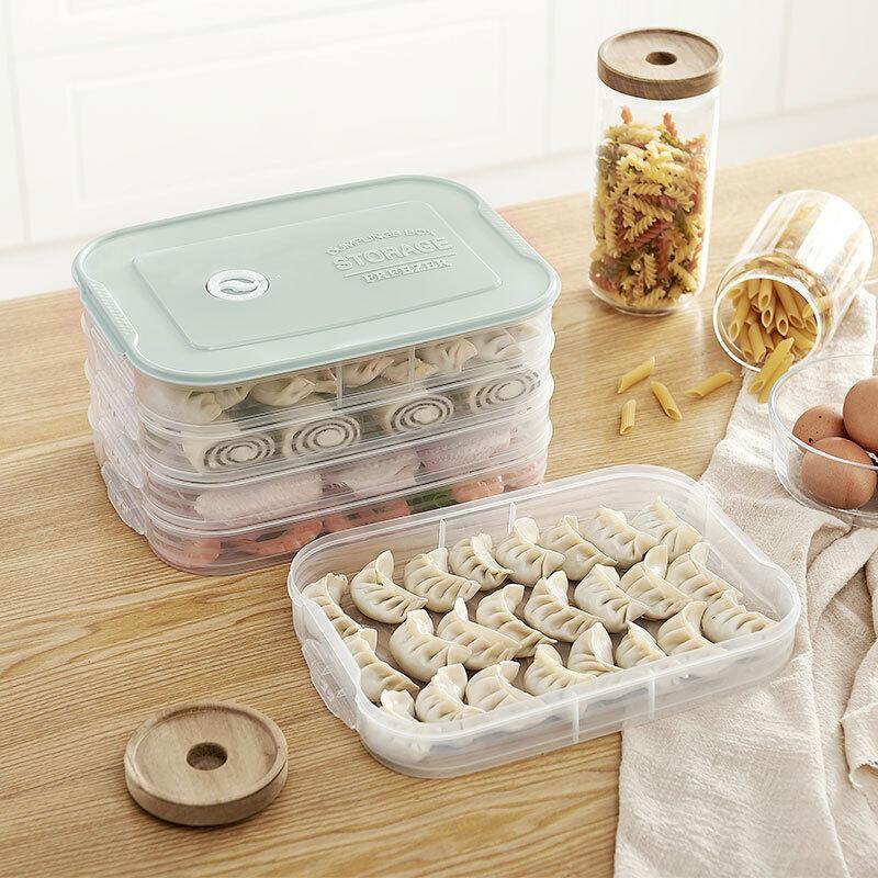 4 Layer Plastic Dumpling Storage Box Refrigerator freeze Dumpling Tray Household Food Crisper Storage Container