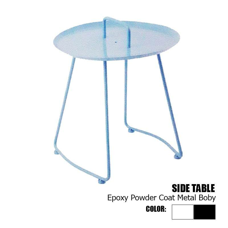 Designer Series Side Table Epoxy Powder Coat Metal Body with 2 legs - Black/White