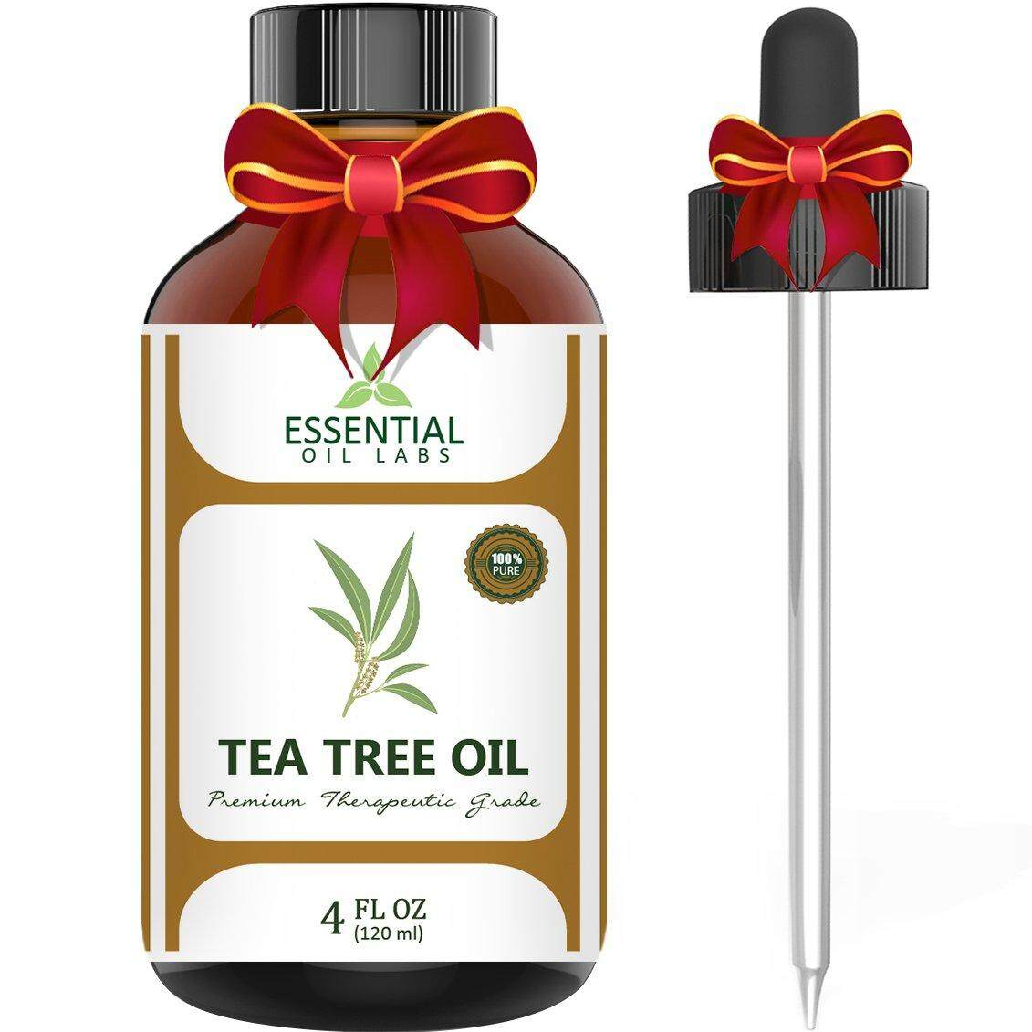 Essential Oil Labs Tea Tree Oil - 100% Pure and Natural Therapeutic Grade Australian Melaleuca Backed by Medical Research - Large 4 fl oz - with Premium Glass Dropper