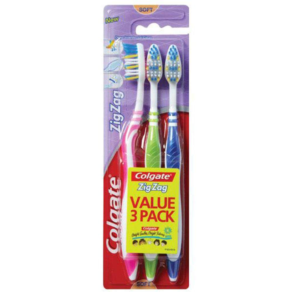 Colgate ZigZag Toothbrush Value 3 Pack (Soft)