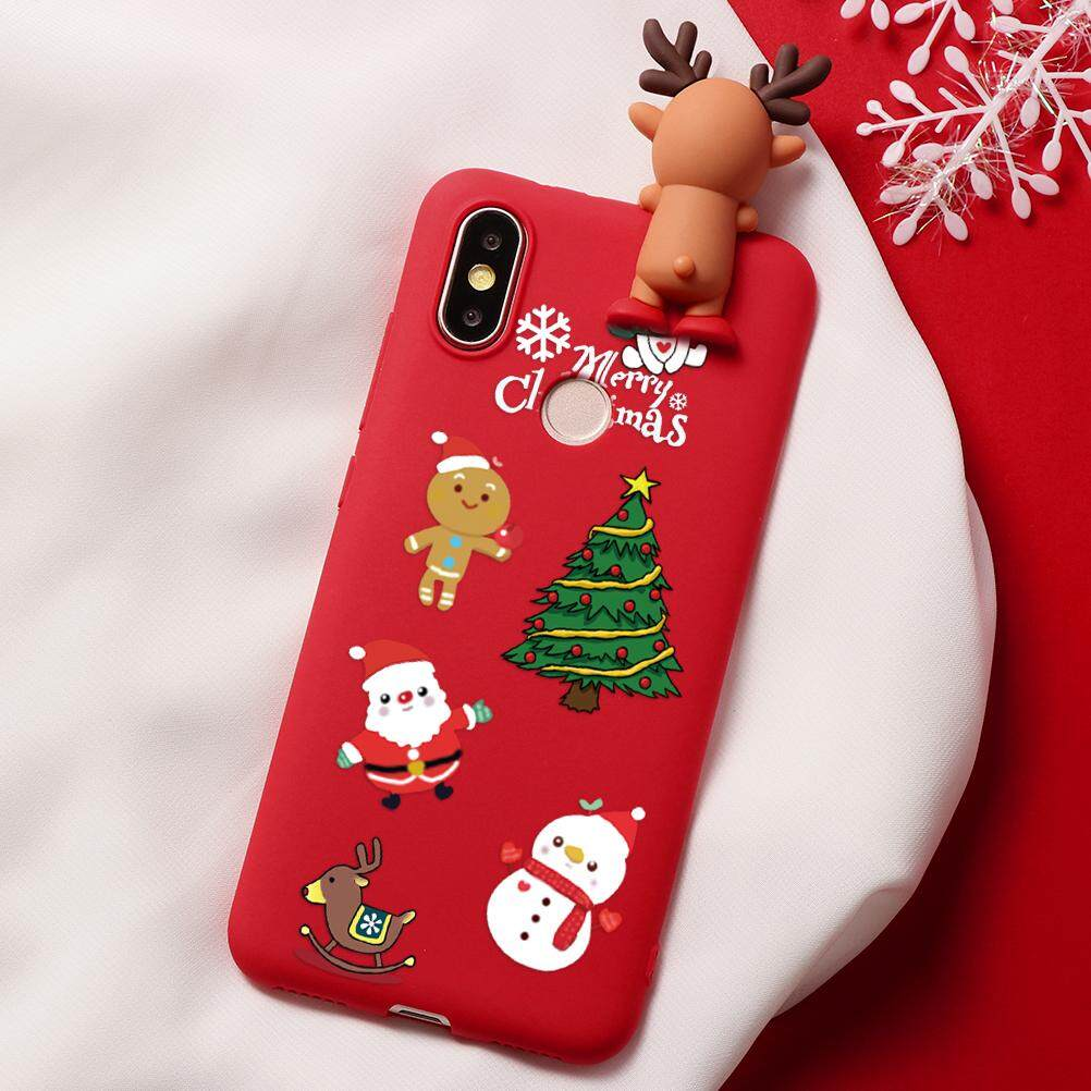 3D Gambar Kartun Selamat Boneka Natal Rusa Beruang Santa Claus Case Shockproof Untuk Xiaomi Redmi Note 7 5 6 PRO Redmi S2 6 Pro Xiaomi Mi A2 Mi 8 Lite