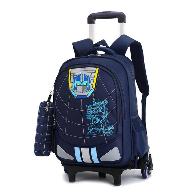 TEEMI Trolley Six Roller Wheels Climb Staircase Primary Secondary Nylon Orthopedic School Bag Kids Children Backpack FREE Pencil Case