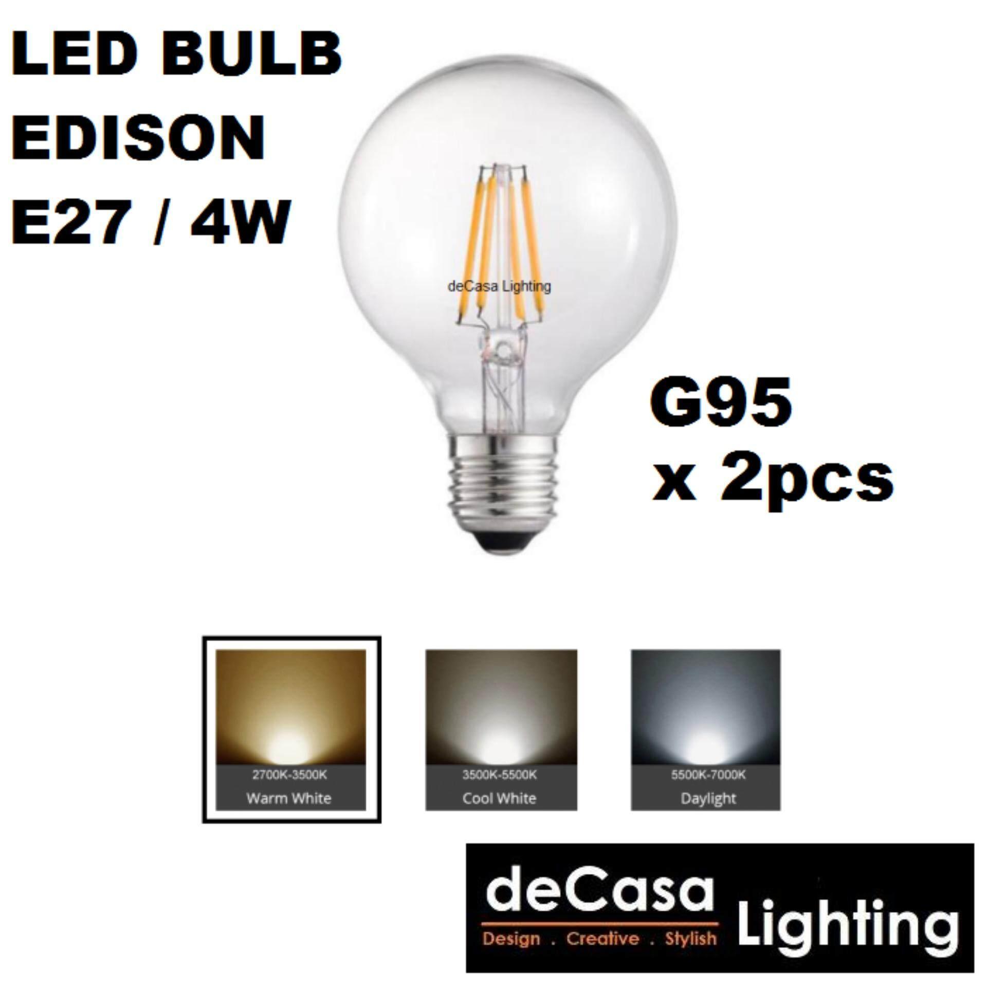 2pcs 4w COB Led Bulb LED BULB 4W E27 GLOBE BULB EDISON BULB LED G95-4W-WW-E27-DECASA