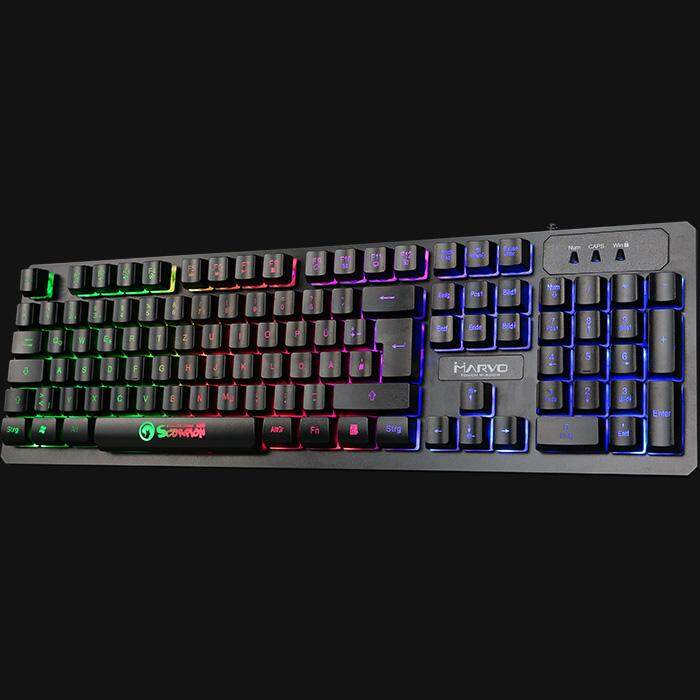 Marvo K616 Gaming Membrane Keyboard Slim Bezel Waterproof Wired USB 1.5m Rainbow Backlight