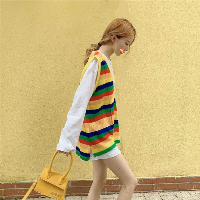 (PRE ORDER) WOMEN SUMMER FASHION SUIT STRIPED KNIT VEST T-SHIRT TWO PIECES
