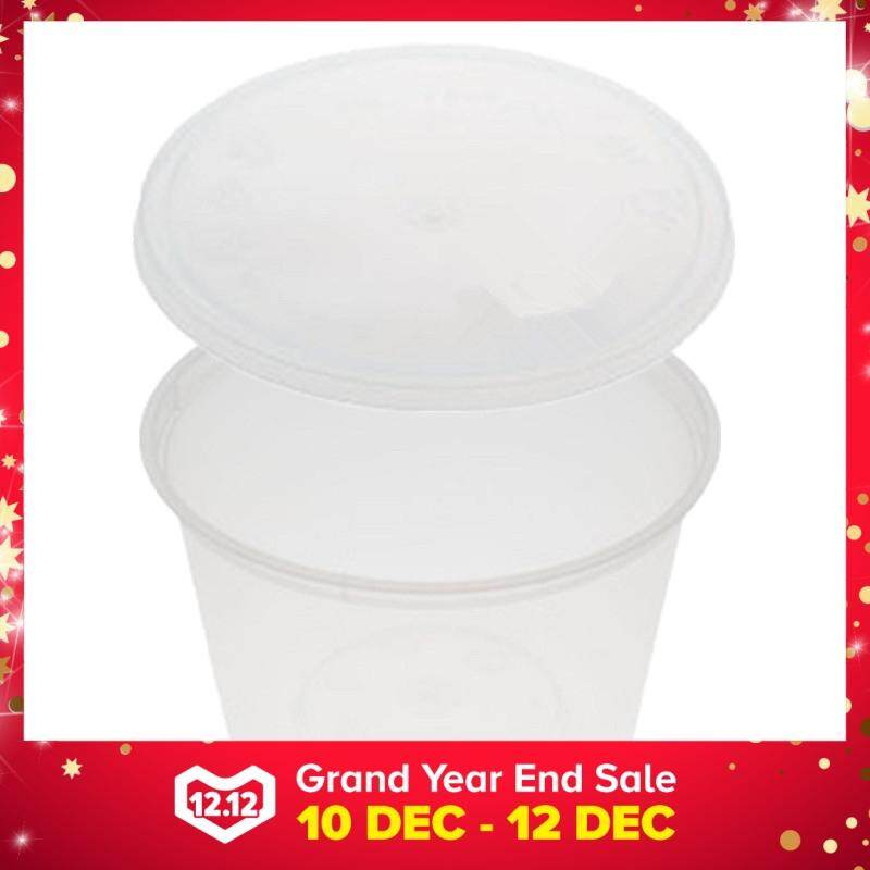 540ml PP Microwavable Round Containers With Lids Clear 5pcs
