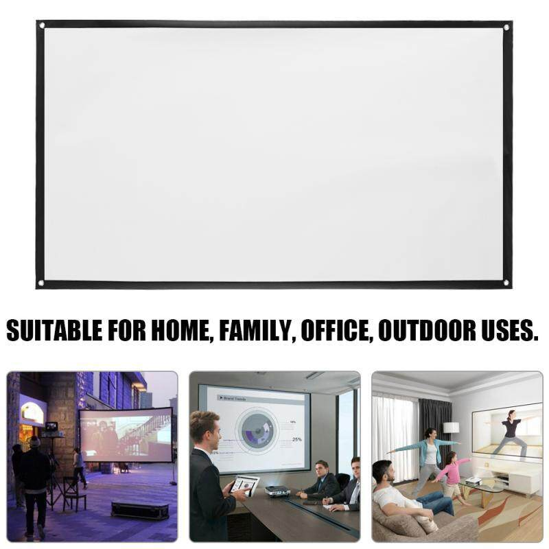 Projectors - 16:9 72 inch Simple Projector Projection Screen Wall Mounted for HD Home Theater