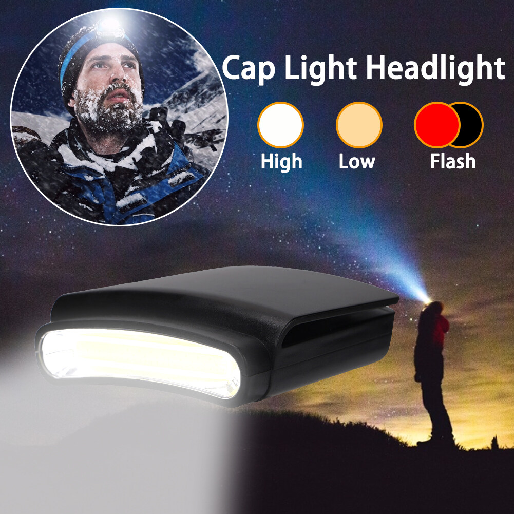 COB LED Headlamp Cap Hat Light Clip-on Headlight Indoor /&Outdoor Lamp A+